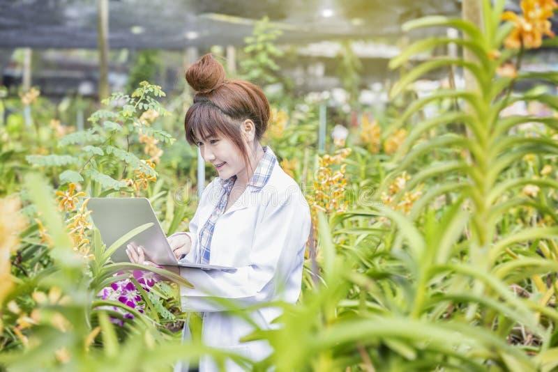 Leendeforskare som rymmer en dator i en orkidéträdgård För botanisk skjorta för forskare forskningorkidé för forskare bärande och arkivfoton