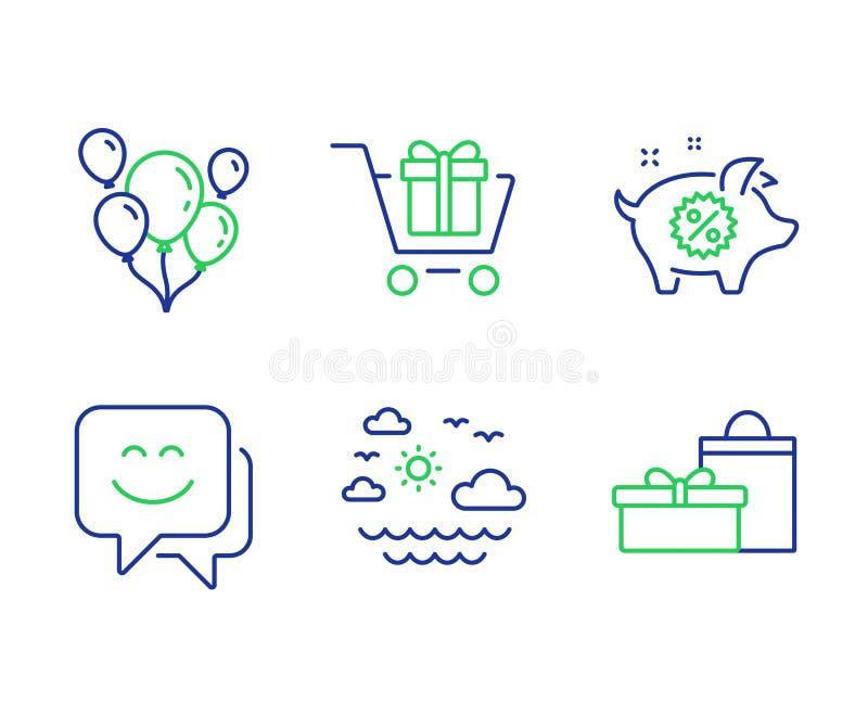 Leendeframsida, lopphav och uppsättning för symboler för shoppingvagn Piggy försäljning, ballong- och gåvatecken vektor stock illustrationer