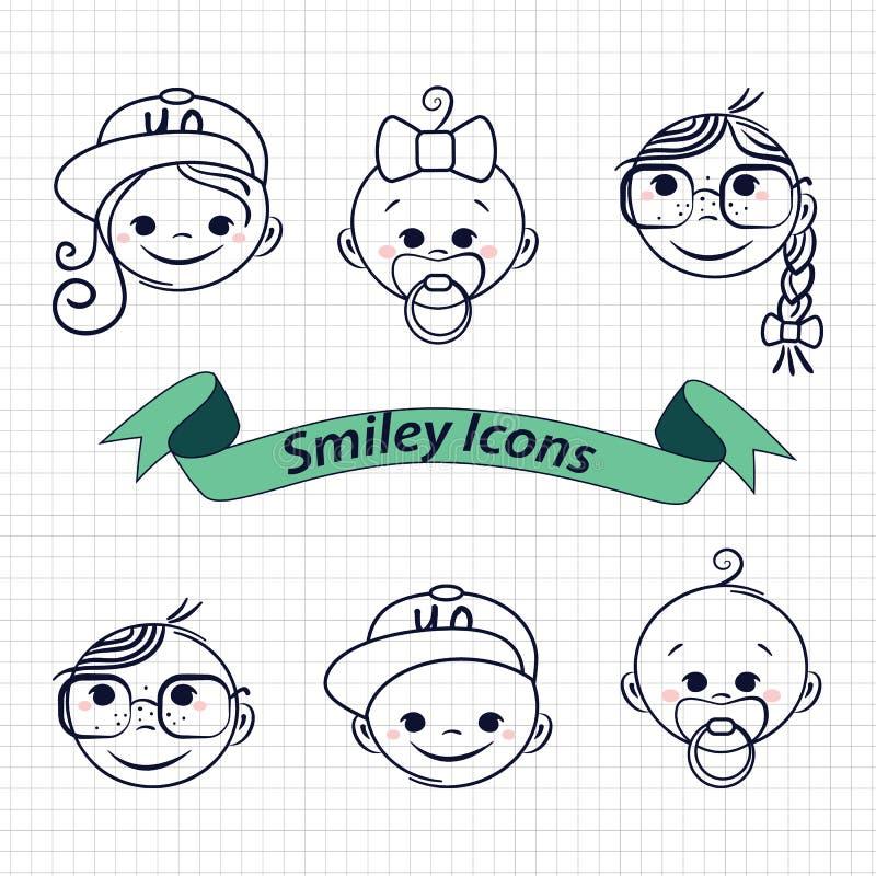 Leendesymboler vektor illustrationer