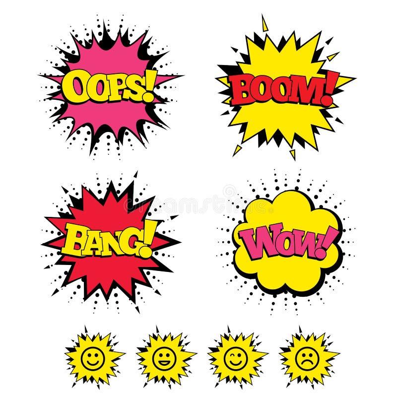 Leendesymboler Lyckliga, ledsna och blinkningframsidor vektor illustrationer