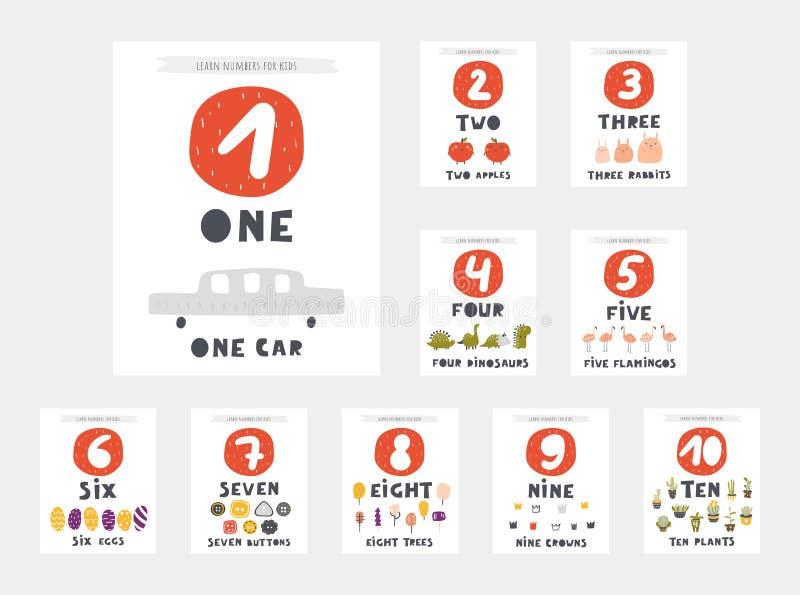 Leer aantallenkaarten voor jonge geitjes Nummer één, twee, drie, vier, vijf, zes, zeven vector illustratie