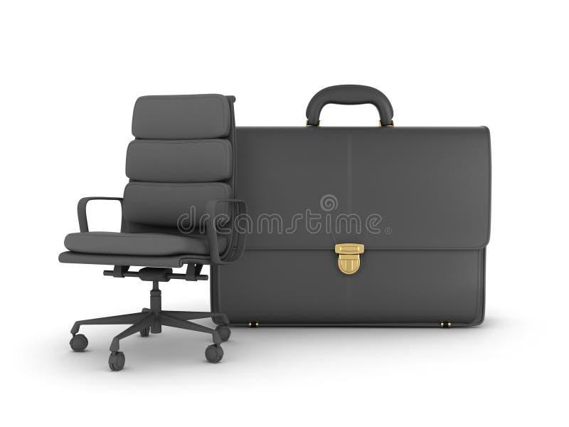 Leer bedrijfsaktentas en bureaustoel royalty-vrije illustratie