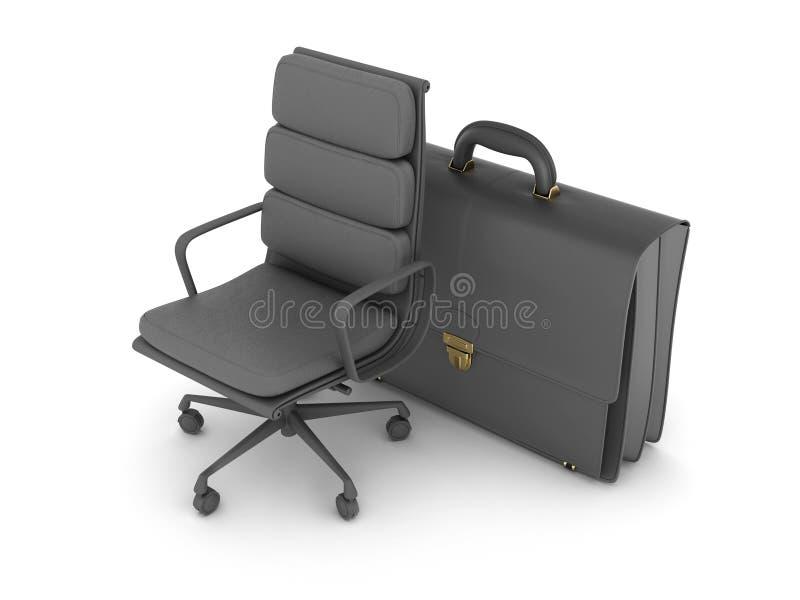 Leer bedrijfsaktentas en bureaustoel vector illustratie