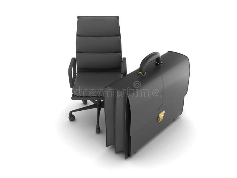 Leer bedrijfsaktentas en bureaustoel stock illustratie