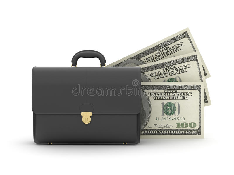 Leer bedrijfsaktentas en geld stock illustratie