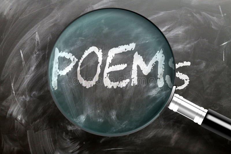 Leer, bestudeer en inspecteer gedichten - afgebeeld als een vergrootglas dat woordgedichten uitbreidt, symboliseert onderzoek, ve stock foto's
