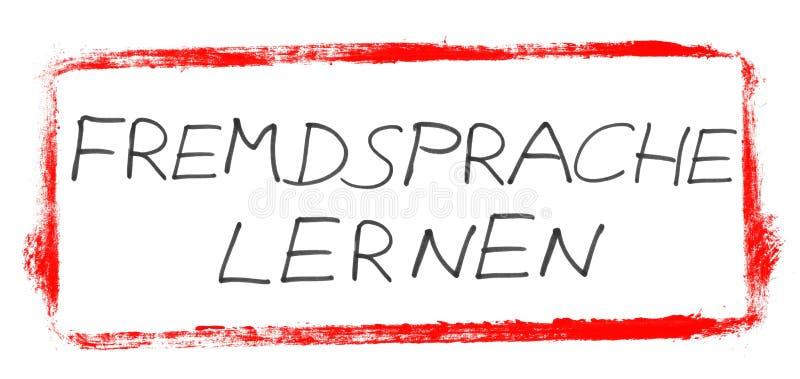 Leer een andere taal - Duitse met de hand geschreven tekst in rode banner royalty-vrije illustratie