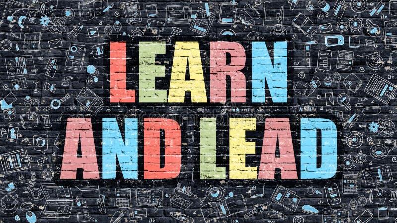 Leer en leid concept Veelkleurig op Donkere Brickwall stock illustratie