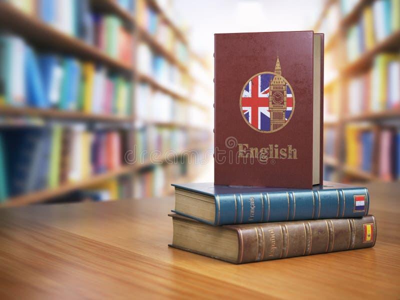 Leer Engels concept Engels woordenboekboek of textbok met F stock illustratie