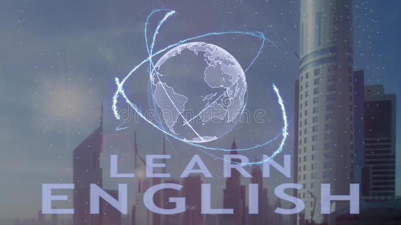 Leer Engelse teksten met 3d hologram van de aarde tegen de achtergrond van de moderne metropool vector illustratie