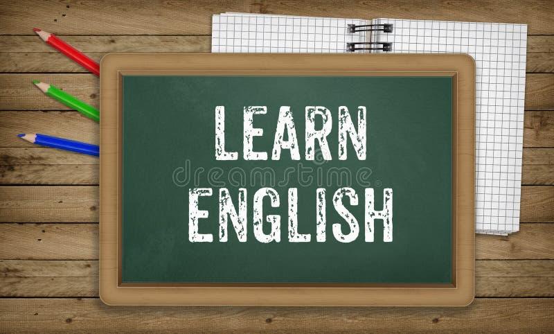 Leer Engelstalig, krijt op groene raad, onderwijsconcept vector illustratie