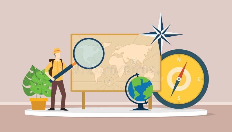 Leer het aardrijkskundeconcept met het kostuum van de mensenontdekkingsreiziger wereldkaarten verklaart royalty-vrije illustratie