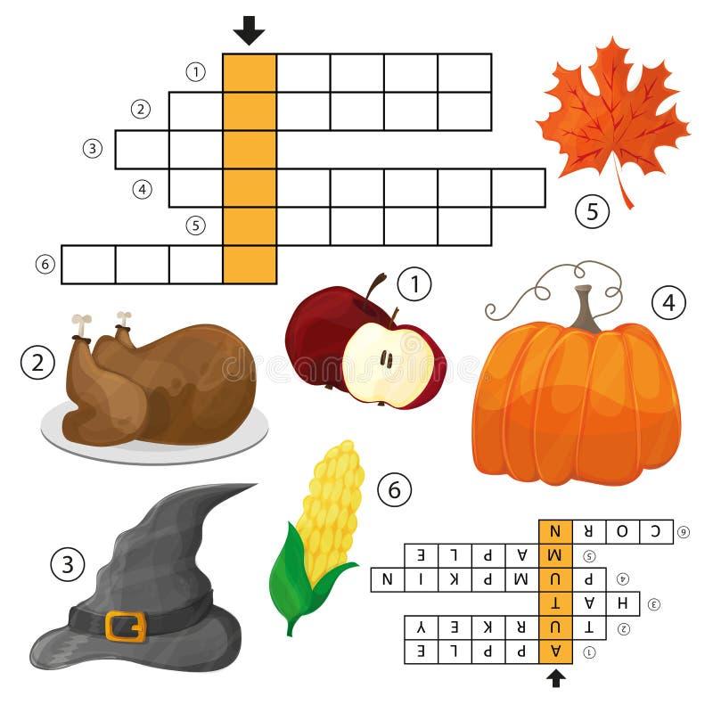Leer het Engels met een spel van het de herfstkruiswoordraadsel voor jonge geitjes Vector illustratie vector illustratie