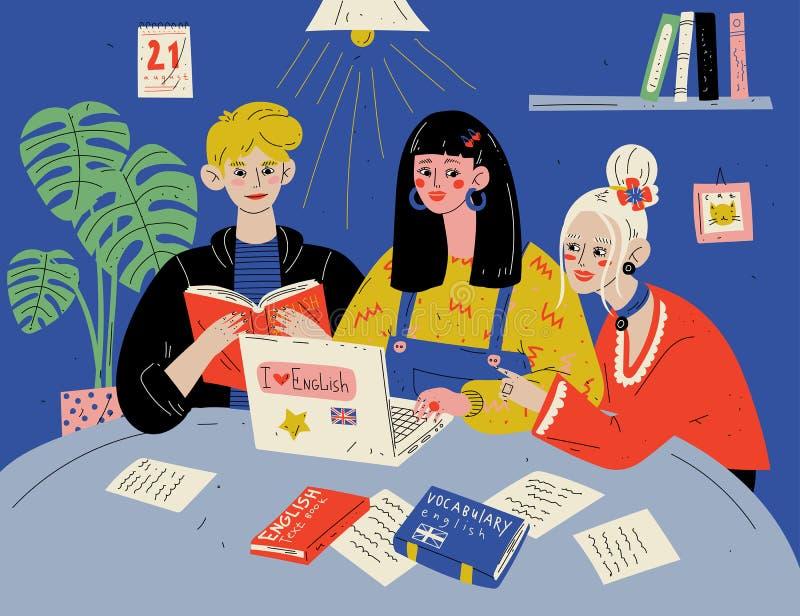 Leer het Engels Studenten die met boeken bestuderen Groep mensen in klaslokaal royalty-vrije illustratie