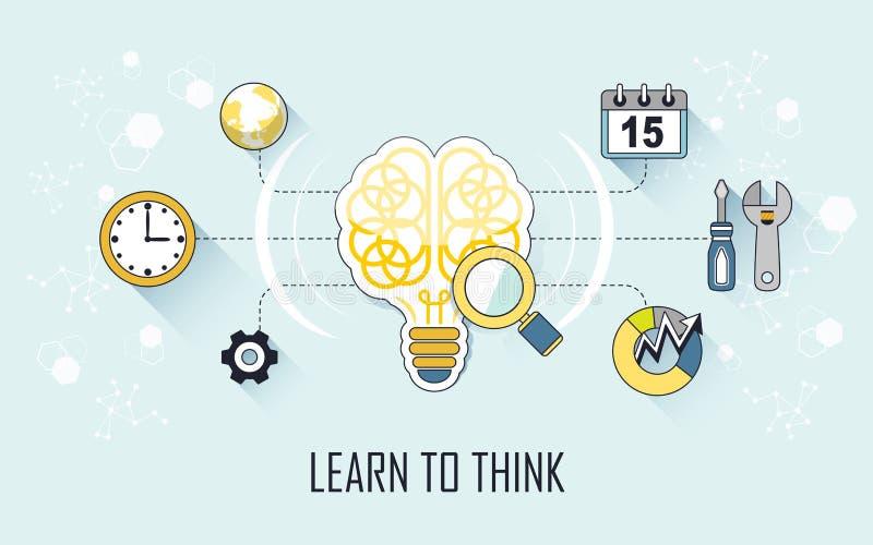Leer om concept te denken stock illustratie