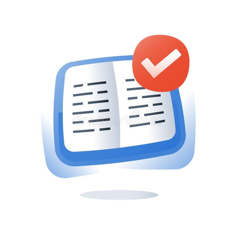 Leer onderwerp, open handboekoefening, onderwijsinhoud, schooltaak, cursus, snelle lezing, het creatieve schrijven stock illustratie