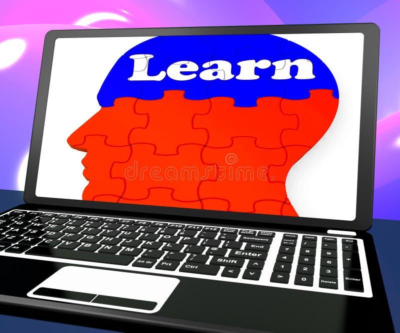 Leer op Brain On Laptop Shows Online-Onderwijs royalty-vrije illustratie