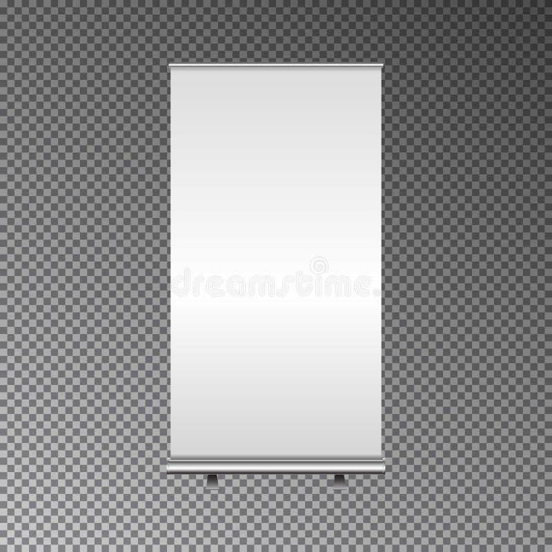 Leer rollen Sie oben Fahnen-Stand Messenstand weiß und leer Illustration des Vektors 3d lokalisiert auf DA vektor abbildung