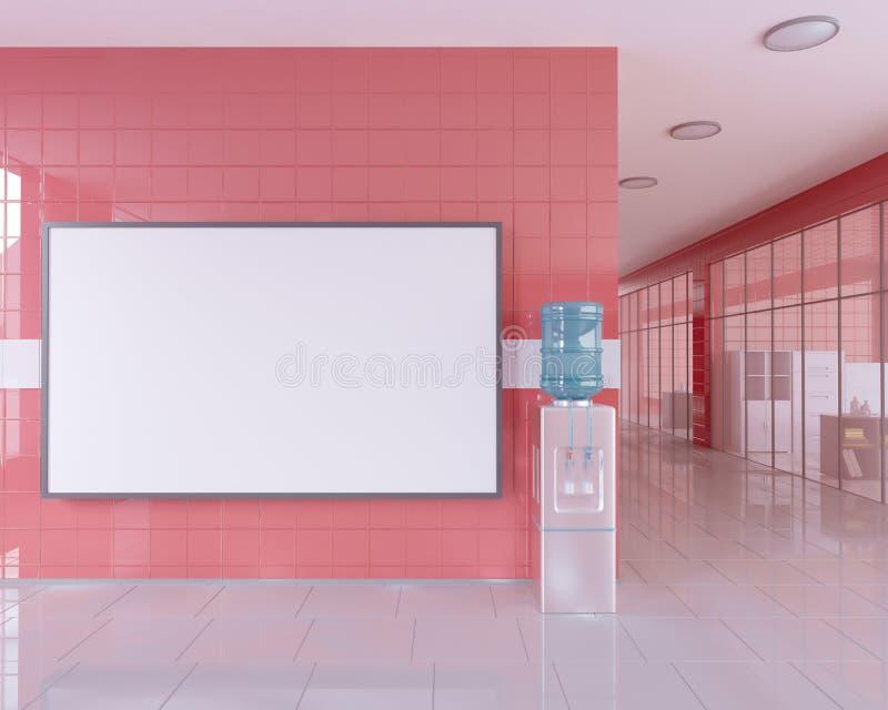 Leer rollen Sie oben Fahnenstand im hellen Büroinnenraum mit Beschneidungspfad um Anzeigenstand Abbildung 3D stock abbildung
