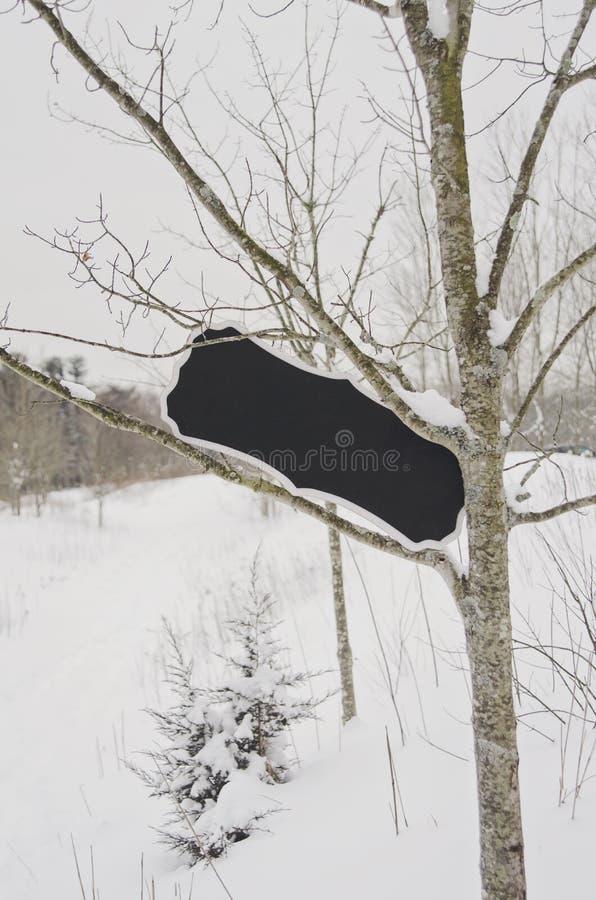 Leer unterzeichnen Sie herein Schnee bedeckten Baum stockfotografie