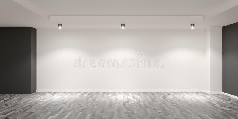Leer weißer Saal mit Holzfußboden und graufarbenen Wänden mit Scheinwerfern an der Rückseite - Galerie, Produkt oder modern stock abbildung