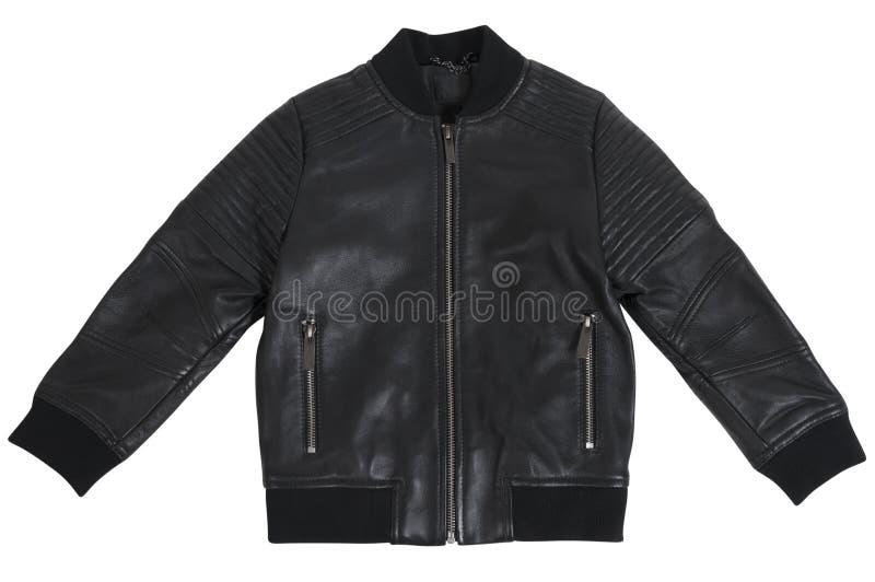 Leer zwart jasje voor geïsoleerde jongen stock afbeeldingen