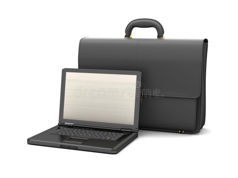 Leeraktentas en laptop royalty-vrije illustratie