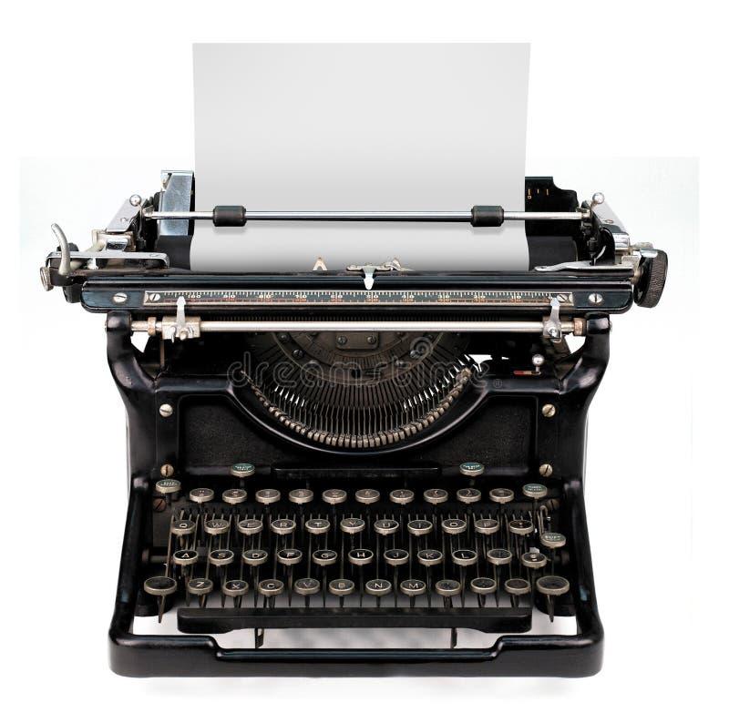 Leerbeleg in einer Schreibmaschine stockfoto