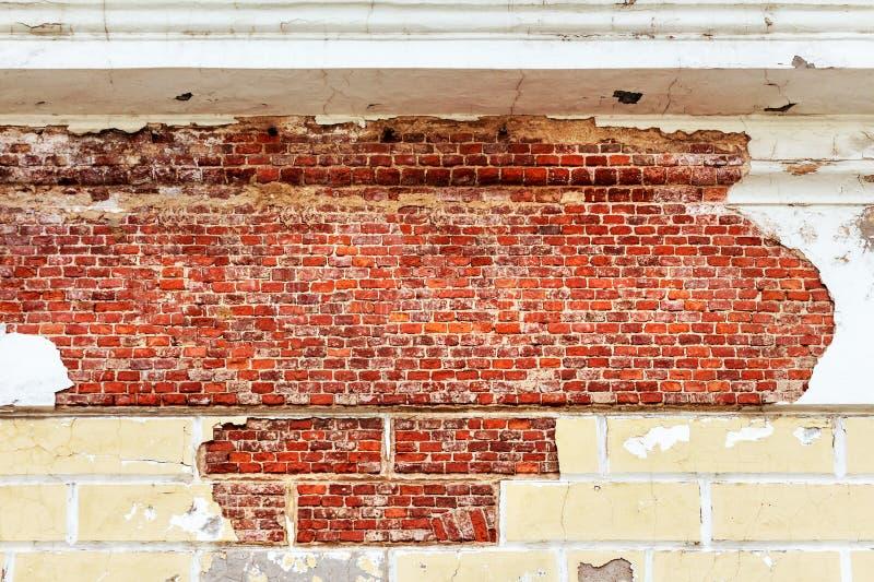 Leere alte Backsteinmauer-Beschaffenheit stockbilder