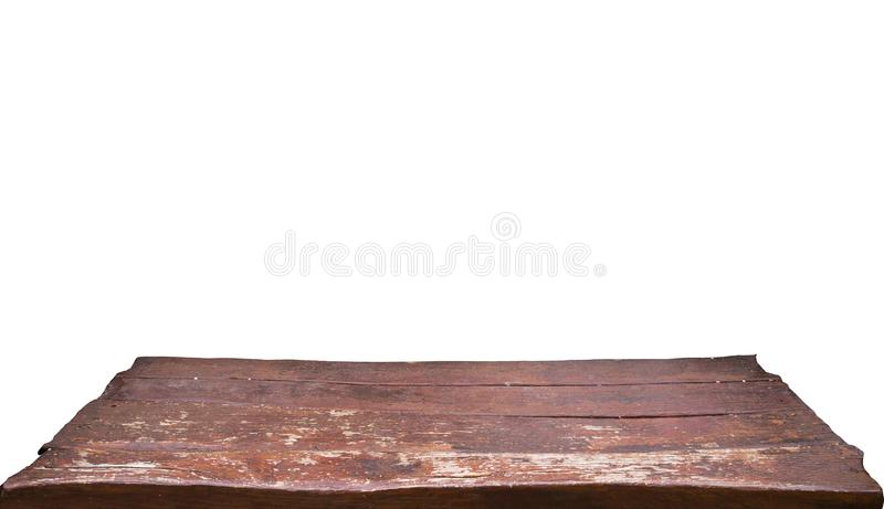 Leere alte braune Holztischspitze lokalisiert auf dem weißen Hintergrund, benutzt für Anzeige oder Montage Ihre Produkte stockfotografie