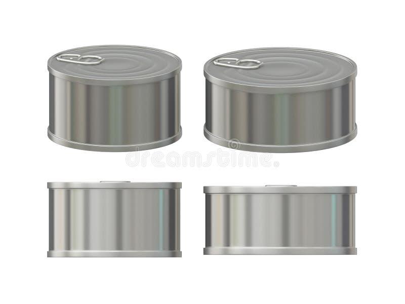 Leere Aluminiumblechdose eingestellt mit Aufreißlasche, Beschneidungspfad eingeschlossen vektor abbildung