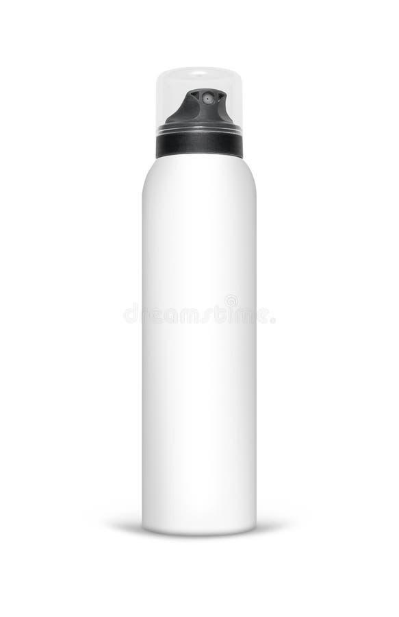 Leere Aluminiumspraydose lokalisiert auf weißem Hintergrund lizenzfreie stockfotos