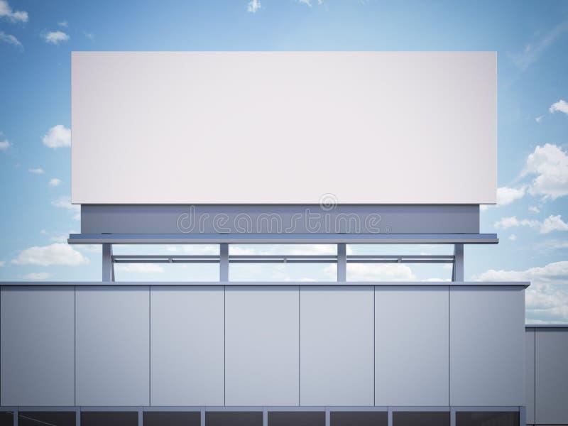 Leere Anschlagtafel, die auf einem Bürogebäude steht Wiedergabe 3d stockfotografie