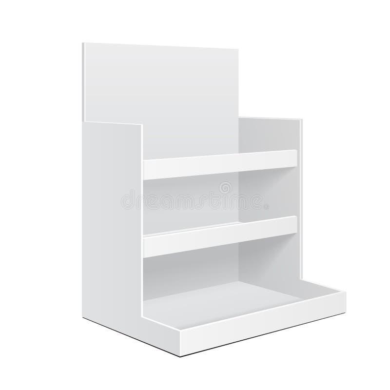 Leere Anzeigen-Pappzähler-Regal-Halter-Kasten Position POI leeren sich Modell, Spott oben, Schablone Getrennt auf weißem Hintergr stock abbildung