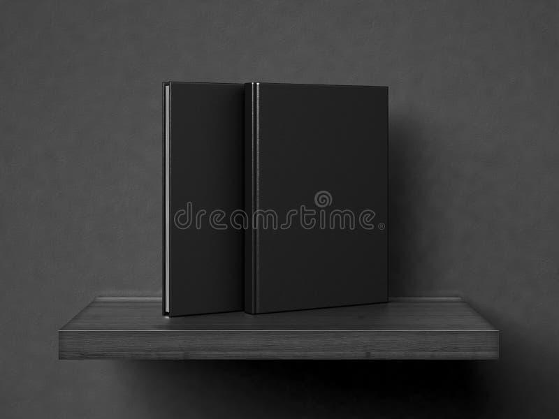 Leere Bücher auf einem hölzernen Regal 3d übertragen stockbilder