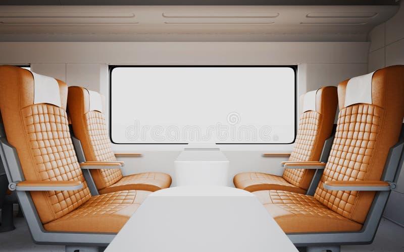 Leere bequeme moderne orange Farbledersessel innerhalb des Business-Class-Kabinen-schnelle Geschwindigkeits-Zugs Weißes Fenster lizenzfreie abbildung