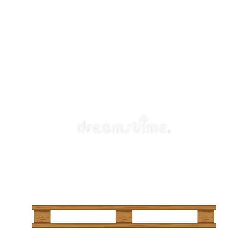 Leere bewaldete Palette lokalisiert auf weißem Hintergrund- und Kopienraum, leeres Palettenholz für das Legen des Produktkasten lizenzfreie abbildung