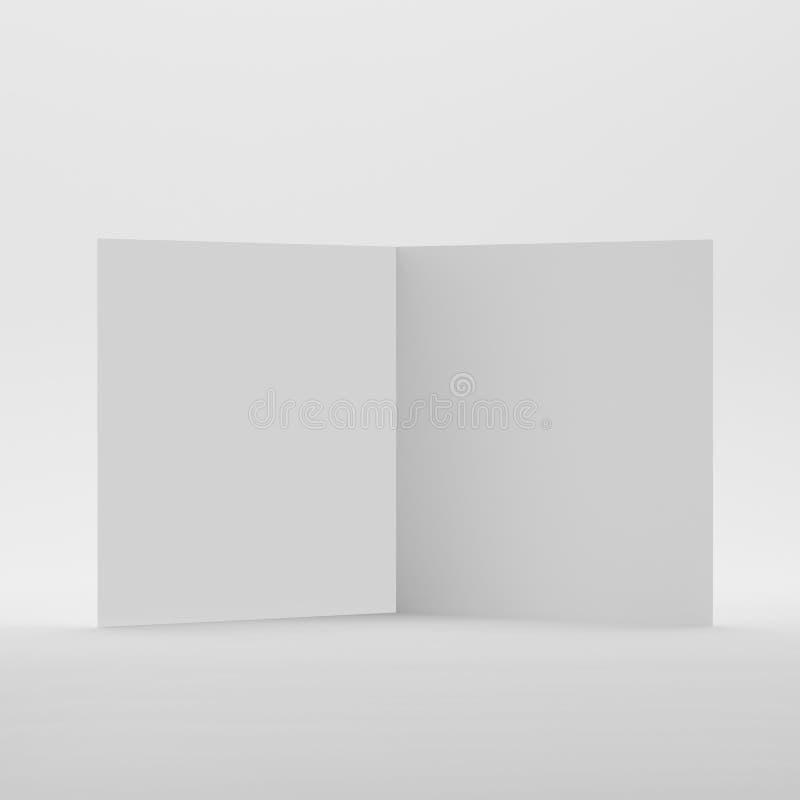 Leere Bi-Falten-Quadrat-Broschüre/Broschüre/Flugschrift/Gruß-Karte lizenzfreie abbildung