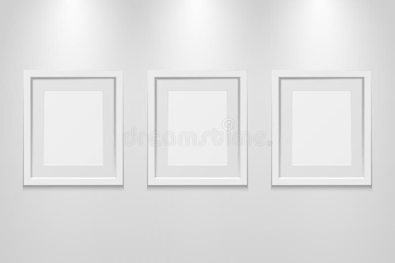 Leere Bilderrahmen auf der Wand mit Lichteffekt stock abbildung