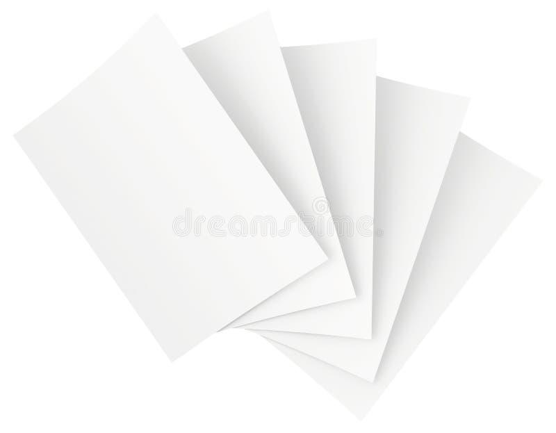Leere Blätter Papier lokalisiert auf weißem Hintergrund vektor abbildung