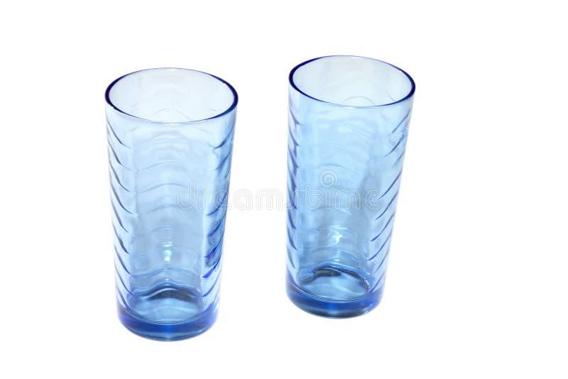 Leere blaue Gläser lizenzfreie stockfotos