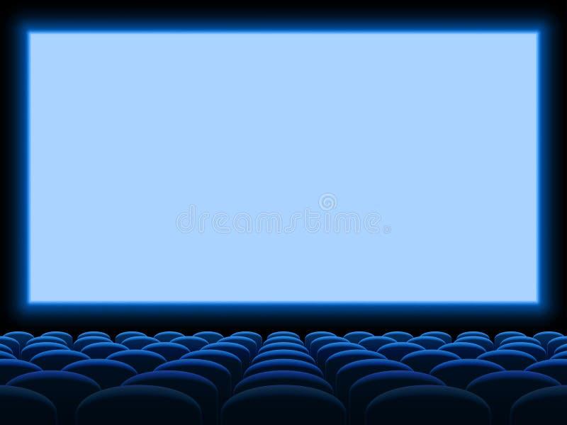 Leere blaue Stühle der Filmkinoleinwandvektorhintergrundschablone Sitz vektor abbildung