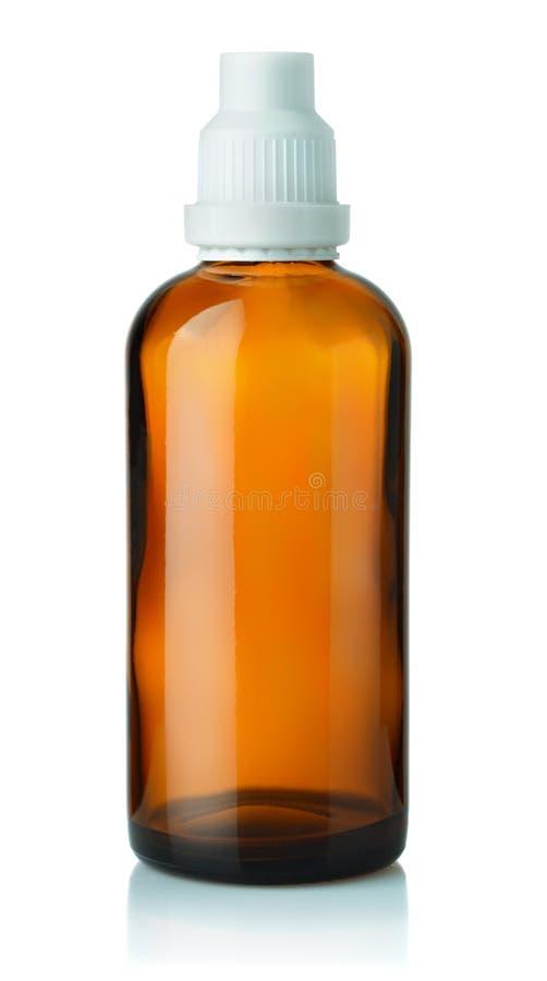 Leere braune Medizinglasflasche lizenzfreie stockfotos