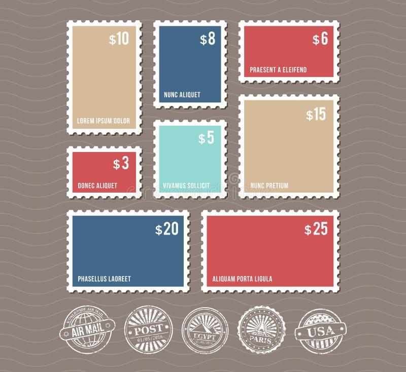 Leere Briefmarken in den unterschiedlichen Größen und im Weinlesepoststempelvektorsatz vektor abbildung