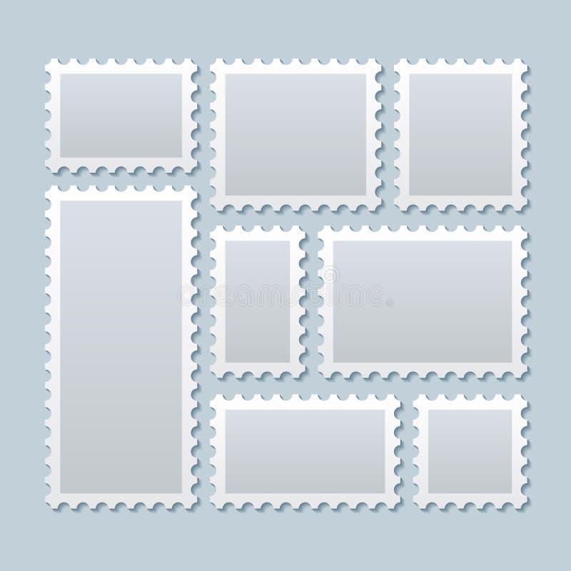 Leere Briefmarken in der unterschiedlichen Größe Rand der Farbband-, Lorbeer- und Eichenblätter lizenzfreie abbildung