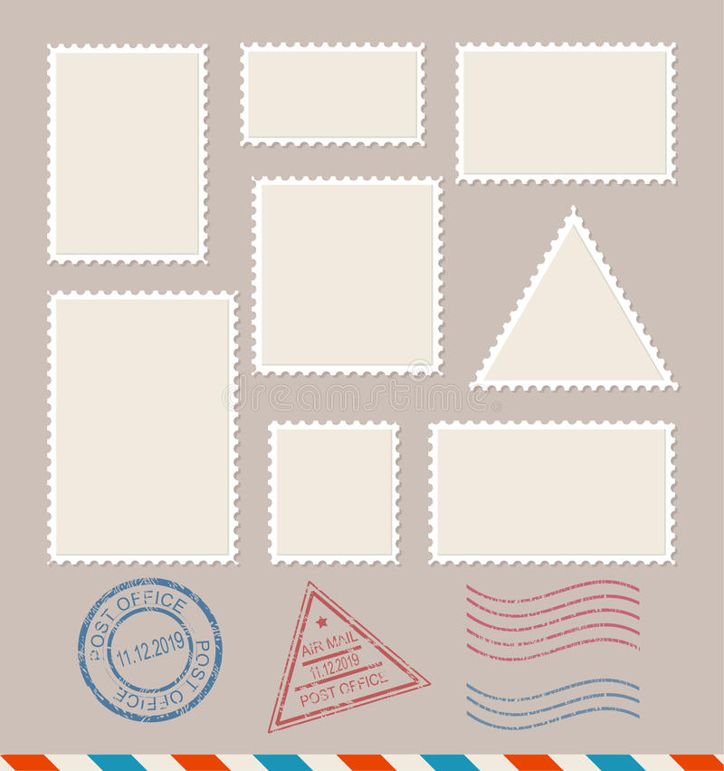 Leere Briefmarken des Schablonen-freien Raumes eingestellt Vektor stock abbildung