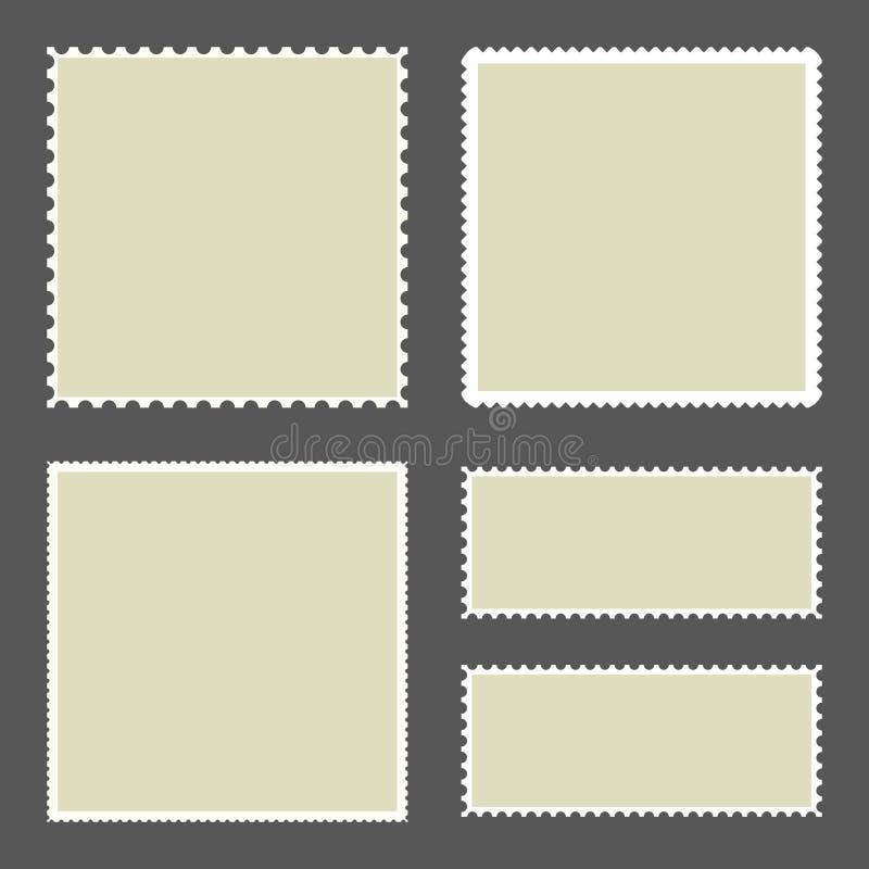 Leere Briefmarken eingestellt auf dunklen Hintergrund Vektor vektor abbildung