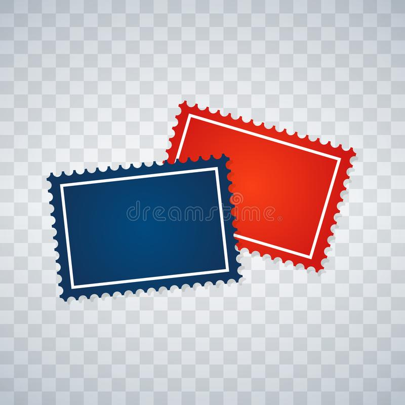 Leere Briefmarken eingestellt auf transparenten Hintergrund Vektor vektor abbildung