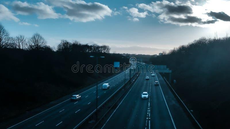 Leere BRITISCHE Autobahn stockfotografie