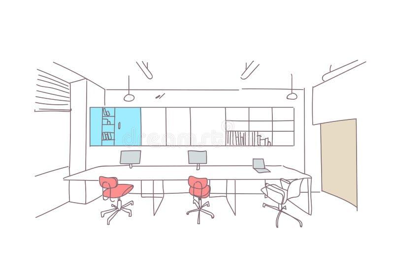 Leere coworking arbeitsplatzinnenskizze des Arbeitsplatzes Co des modernen Büros des Raumes kreative Arbeitskritzeln horizontales stock abbildung